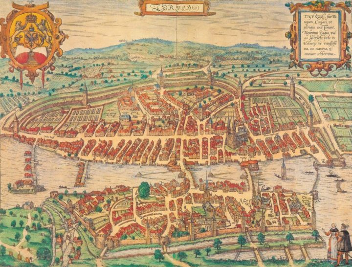 A 1581 bird's-eye etching of Zürich, published by Georg Braun and Frans Hogenberg