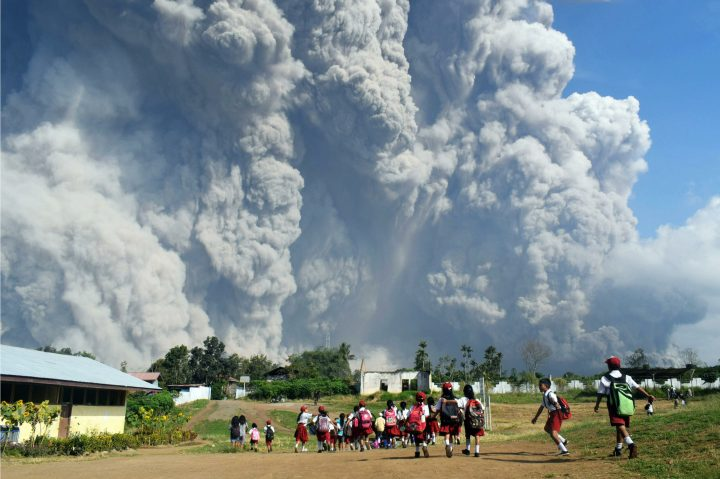 Volcanic ash when Sinabung Volcano erupted
