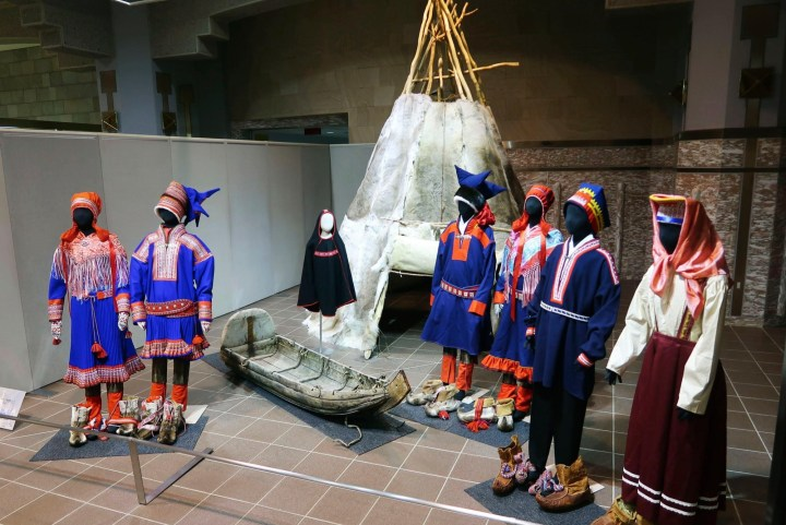 Items related to the Sámi, the indigenous people of Norway, Sweden, Finland, and Russia, are displayed in an exhibit at the Hokkaido Museum.