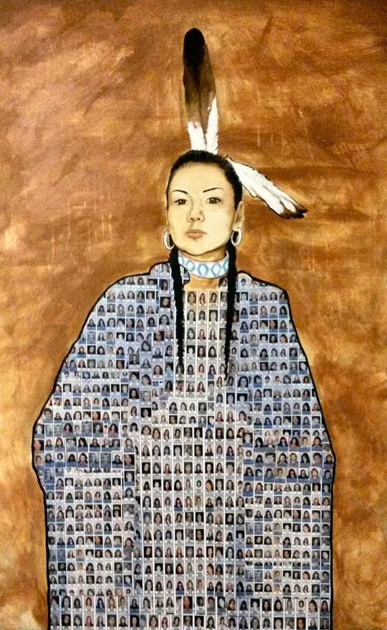 Painting of an Indigenous woman with  the faces of the many missing and murdered Indigenous women of Canada depicted on her clothing.