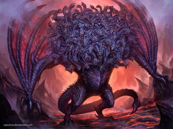 An artist's representation of Ladon, a purple coloured deman with two heads, a serpent tale and 100 heads. He is standing in front of an opening that looks like the portal to hell