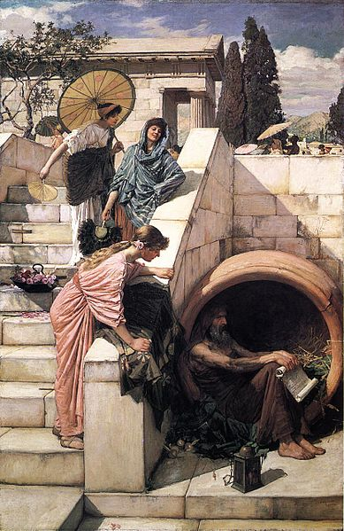 A painting of Diogenes sitting in his barrel as a trio of women attempt to talk to him.