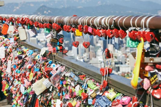 The love-lock laden Namsan Tower in Seoul.