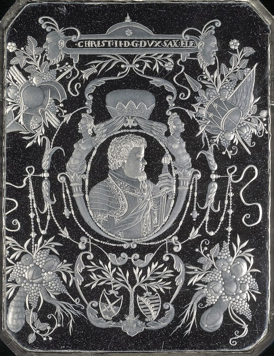 plaque with a portrait of Christian II, Elector of Saxony
