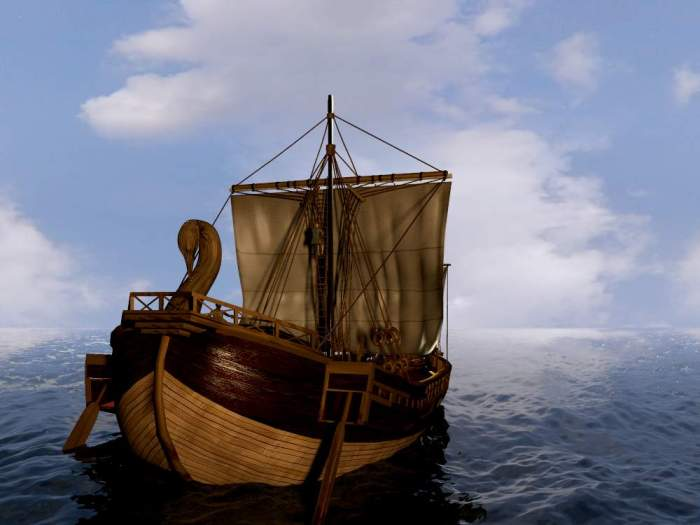 A Roman merchant ship heading out to open water.