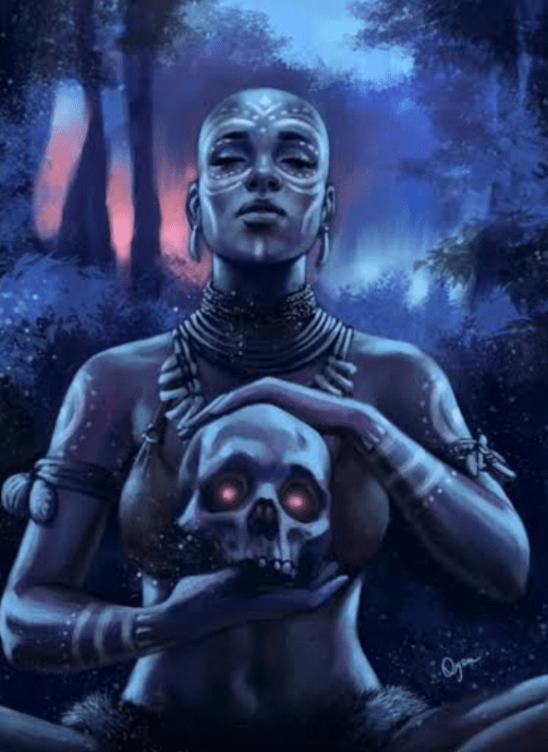 An African goddess holding a skull with glowing eyes