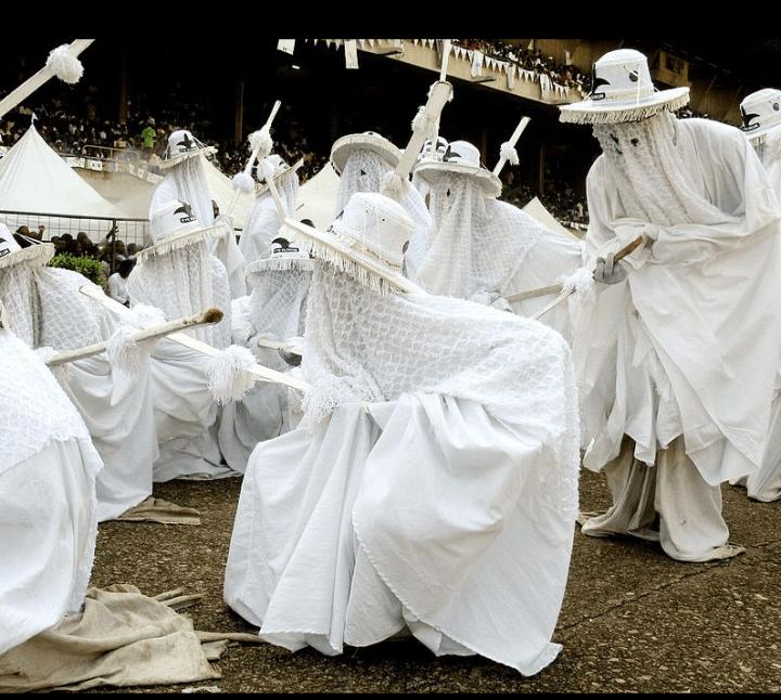 Olokun worshipers re-enact Olokun at the Eya Olokun Festival in Lagos, Nigeria