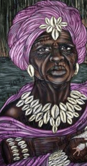 An old woman wearing a purple headscarf and matching dress. The shell beads sorrounds her neck.