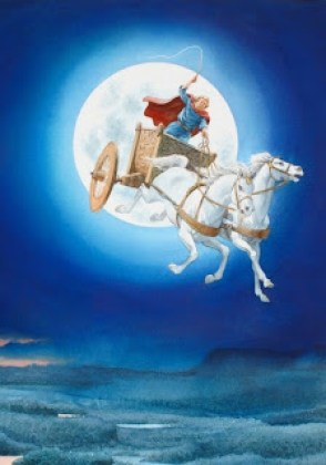 A man driving a gold chariot pulled by a white horse, with the moon in a blue background behind him. The man is seen wearing a blue robe and a red cape.