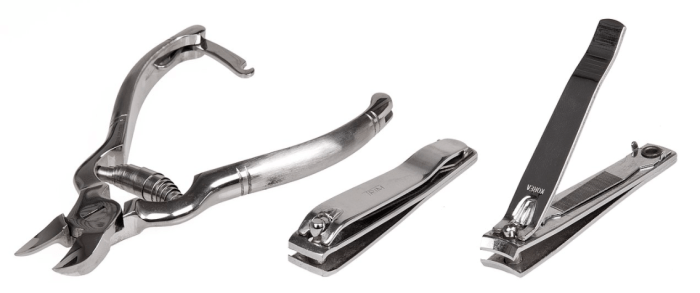 Image of different types of nail cutters from less common style to a more modern style.
