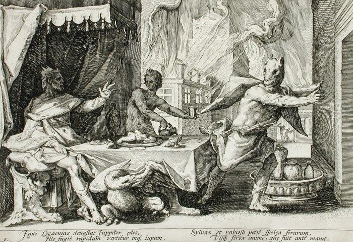 Depiction of a scene in the story of Lucaeon and zeus