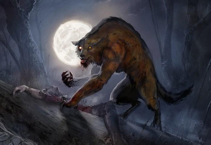a werewolf eating a man