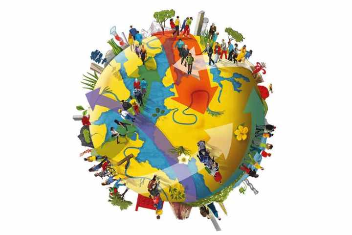 The image portrays planet Earth and many people walking in different directions on top of it, thus illustrating different migration patterns.