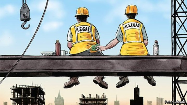 The image portrays two construction workers, one is titled 'legal' and the other one is 'illegal'. The illegal worker is portrayed stealing money from the back pocket of the 'legal' worker. .