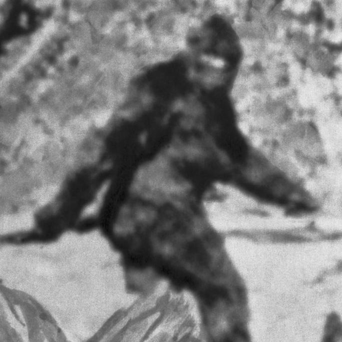 Black and white photo of a large hairy man, presumably bigfoot.