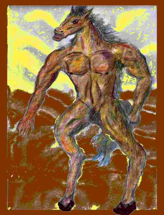 Drawing of horse standing up like a man. u