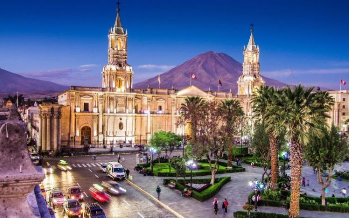 Majestic cathedral at the Plaza del Armas in Arequipa town, Peru-