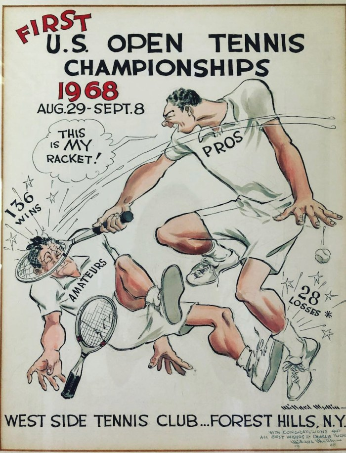 A poster for the 1968 U.S. Open. A professional tennis player smashes his raquet against the head of an amateur tennis player.