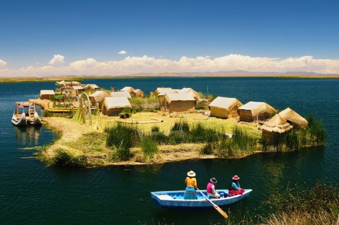 One of the many typical small islands at the Lake Titicaca, Peru