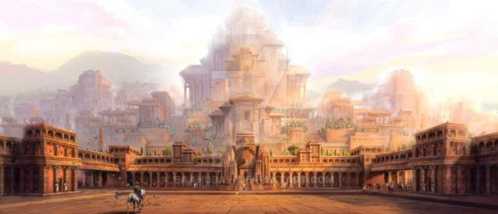 An artist's interpretation of the Magadha Empire, showing the vastness of its architecture in Ancient India.