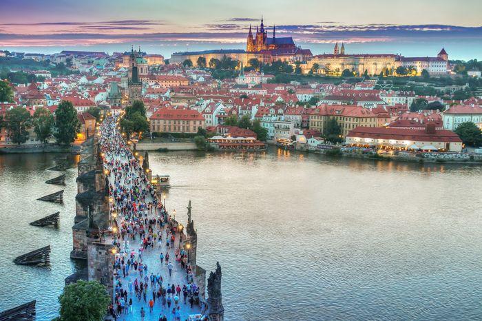 Tourists in Prague