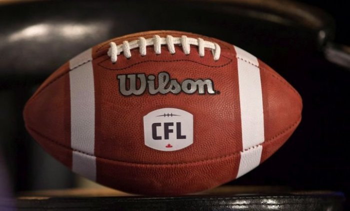 The logo for the CFL on a football.
