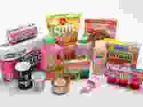 15 products such as chips, jello, paper towel, fish filletos whose cover is pinkish all grouped together on white background