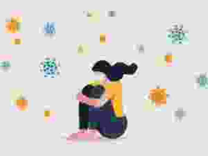 Cartoon illustration of a girl wearing a yellow sweater hugging her knees with mini coronavirus cells scattered in the background