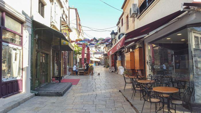 The quiet street of Old Bazaar in Skopje