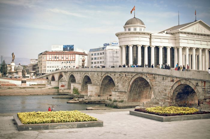 The Stone Bridge in Skopje, North Macedonia with the elegant architecture in the background