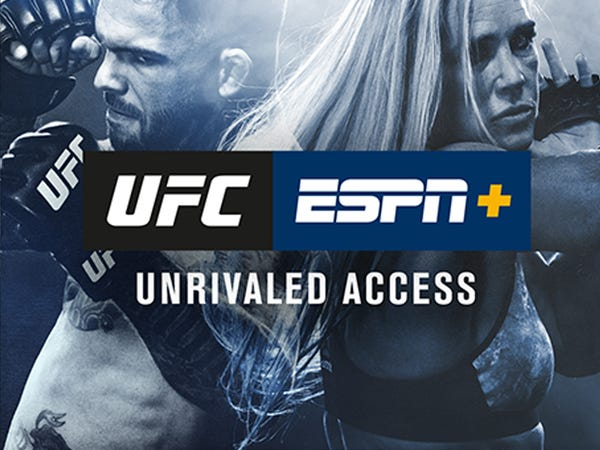 An advertisement for UFC on ESPN+. Ufc fighters Cody Garbrandt and Holly Holm appear in the advertisement.