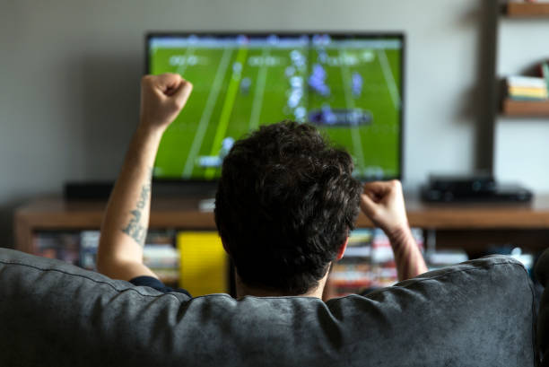 A man sitting on a couch watching a sports broadcast. He is cheering.