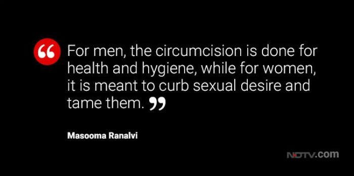 """An image of a quote that reads """"For men, the circumcision is done for health and hygiene, while for women, it is meant to curb sexual desire and tame them""""."""