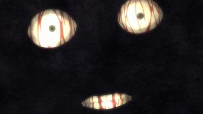 animated eyes and mouth from an anime emerging from the dark with blood dripping down the eyeballs and teeth