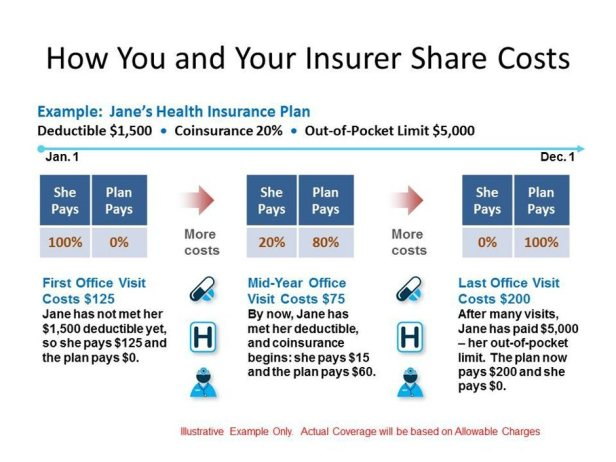 image of an illustration which reads how you and your insurer share costs by ceating a hypothehtial situation of Jane paying insurance plan through deductibles copays