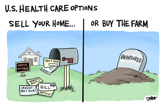 a caricature of health care options in USA, divided in two images. on the left there are bills lying on the floor nd house is for sale, on the right there is the grave of someone uninsured newly buried