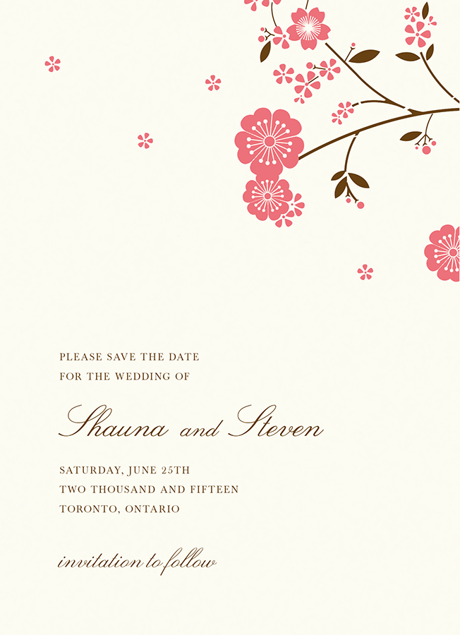 Cherry Blossom Save The Date By HelloLucky Postable