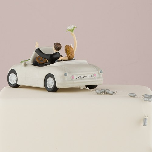 Just Married Car Cake Topper   The Knot Shop Honeymoon Bound Couple in Car Bride and Groom Cake Topper