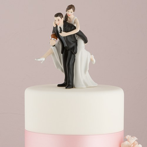 Football Bride and Groom Cake Topper   The Knot Shop Football Piggy Back Bride And Groom Cake Topper