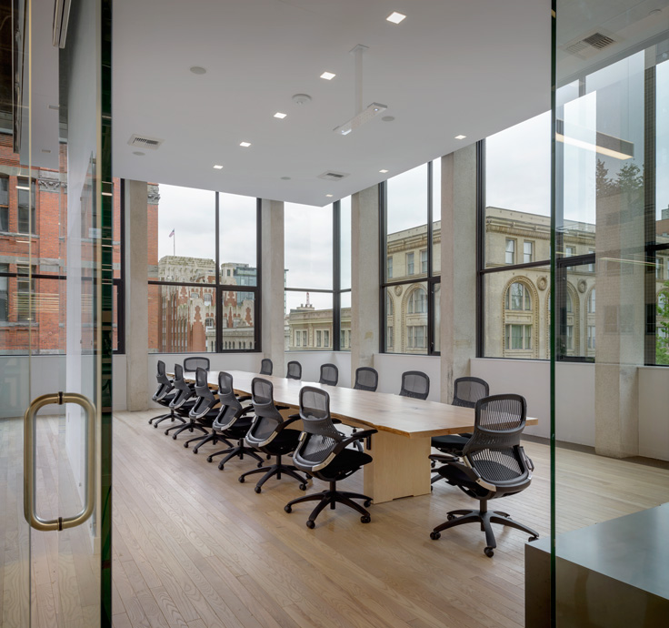 A meeting room overlooking the city in MG2's Seattle office (Photo credit: Aaron Leitz)