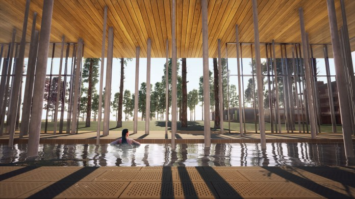 Columns emerge from the Salish Lodge & Spa's pool, evoking the forms of towering pine trees outside the building.