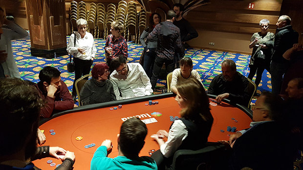 Playing poker at the opening night party