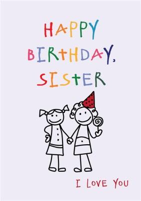Anoela Stick Man Doodle Happy Birthday Sister Card Moonpig