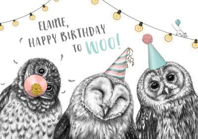 Happy Birthday To Woo Partying Owls Birthday Card Moonpig