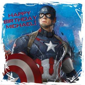 Marvel Captain America Scribbled Border Happy Birthday Card Moonpig