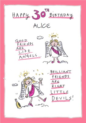 Funny Friends Are Like Angels And Devils 30th Birthday Card Moonpig