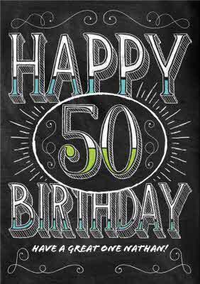 Chalkboard Style Personalised Happy 50th Birthday Card Moonpig