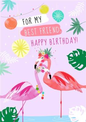 Cute Flamingo Tropical For My Best Friend Happy Birthday Card Moonpig