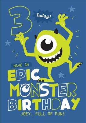 Disney Monsters Inc Mike Wazowski Epic Monster 3rd Birthday Card Moonpig