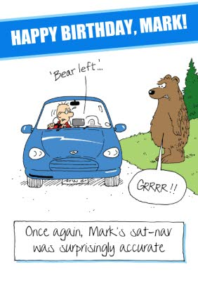 Bear Left Funny Caption Personalised Happy Birthday Card Moonpig